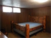 Queen Log Bed and Mattress