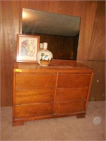 Dresser With Mirror, Vase and Picture