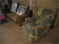 1970's Couch, Chair, Footstool, 2) Pictures