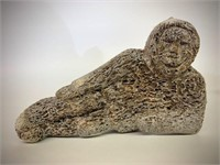 Early Reclining Inuit Hunter Bone Carving