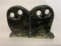 Black Owl Pair Inuit Carving