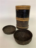 Early Hand Woven Stacking Container