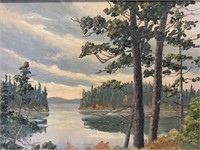 Oil on Panel of Northern Lake-Arn Scollee