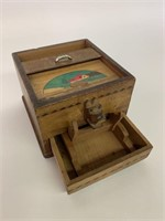 Rare Mechanical Wooden Cigarette Dispenser