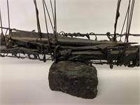 Antique Wire and Wooden Ship Sculpture