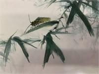 "Leo Wong Original Watercolour ""A Beetle on Bamboo"