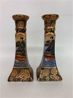 Pair of Decorative Satsuma Candlesticks