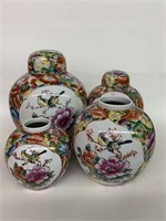 Group of Chinese Decorated Ginger Jars