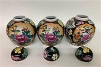 Set of 3 Chinese Ginger Jars