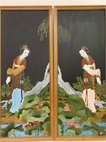 Pair Of Oil on Board Oriental Paintings