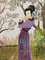 Original Gaston Oil on Board of Oriental Lady