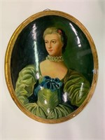 Exceptional Early Hand Painted Oval Portrait
