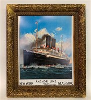 Reproduction Tin Anchor Line Sign in Gilt Frame