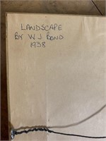1938 W.J.Bond Oil on Canvas Landscape