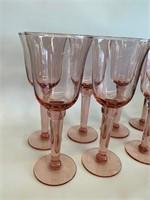 Set of 8 Pink Depression Type Stemware Glasses