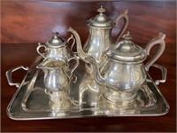 "Rogers Bros ""Rose Marie"" Silver Plate Tea Set"