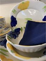 Large Summer Set of Hand Painted Dinnerware