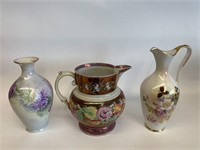 Group of Hand Decorated Vase and Pitchers