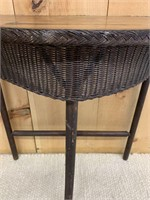 Antique Rattan and Wooden Hall Table