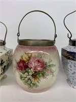Group of Three Early Porcelain Biscuit Barrels