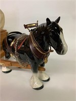 Large Porcelain Clydesdale Horse and Wagon