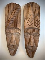 Pair of Signed Wooden Tribal Masks