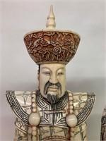 Pair-Fabulous Oriental Guanyin Bone Carvings