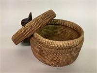 Antique Woven Basket with Wooden Frog Handle