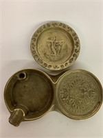 Pair of Brass Decorated Early Ashtrays