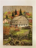 Hand Painted On Barn Board Farm Scene