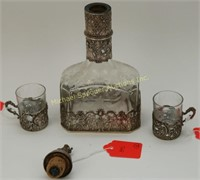 19TH C. ETCHED CRYSTAL & SILVER  DECANTER + CUPS