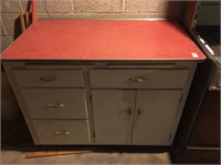 retro style kitchen counter and cabinet