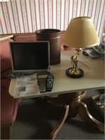 Sharp Aquos TV, waste basket and lamp