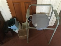 Drive folding commode and waste baskets