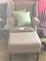 high back arm chair with ottoman