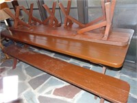 Wooden picnic table 2 long benches 2 short