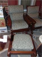 Wooden chair & ottoman