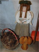 Lighted Wooded Angel, basket and puzzle