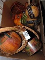Wicker baskets, maracas & vase