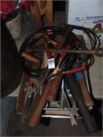 Garden tools, shears, tire iron, jumper cables