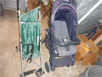 2) Strollers and a Wood Crib