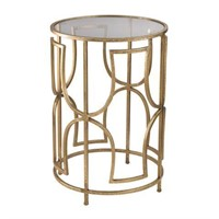 MODERN FORMS 20 X 14 INCH GOLD SIDE TABLE