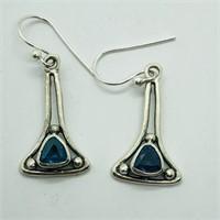 SILVER BLUE TOPAZ DANGLING EARRINGSS (102 - CR95)