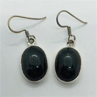 SILVER BLACK ONYX DANGLING EARRINGSS (105 - CR95)