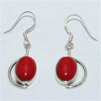 SILVER SYNTHETIC CORAL DANGLING EARRINGSS (108 -