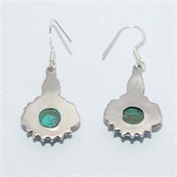 SILVER TURQUOISE DANGLING EARRINGSS (110 - CR95)