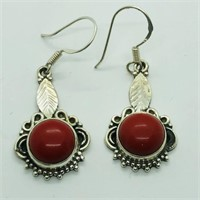 SILVER SYNTHETIC CORAL DANGLING EARRINGSS (116 -