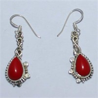 SILVER SYNTHETIC CORAL DANGLING EARRINGSS (118 -