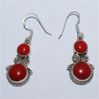 SILVER SYNTHETIC CORAL DANGLING EARRINGSS (117 -