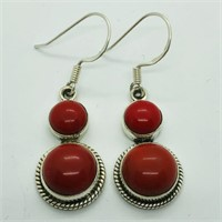 SILVER SYNTHETIC CORAL DANGLING EARRINGSS (119 -